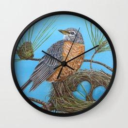 Robin with nest in Georgia pine tree Wall Clock