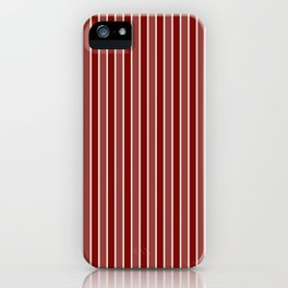Vintage New England Shaker Village Milk Paint Barn Red Small Vertical Bedding Stripe iPhone Case
