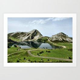 Enol lake in Covadonga, Asturias Art Print