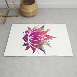Lotus Flower Art Colorful Purple Watercolor Gift Bean of India Lotus Blossom Flowers Art Gift Rug