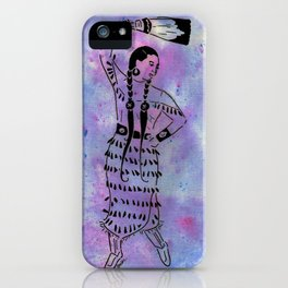 Idle No More  (Cree jingle dancer with feather fan) iPhone Case