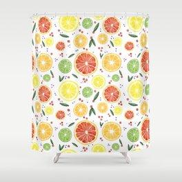Watercolor Citrus Mosaic Shower Curtain