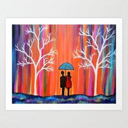 Colors Of Love Romantic Colorful Rainy Painting Art Print