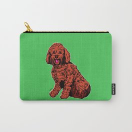 Labradoodle Illustration with Green Carry-All Pouch