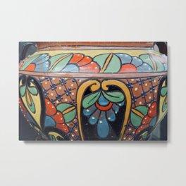 Art Deco painted clay pot Metal Print