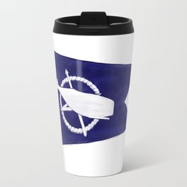 Nantucket Blue and White Sperm Whale Burgee Flag Hand-Painted Travel Mug