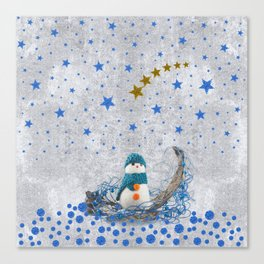Snowman with sparkly blue stars Canvas Print