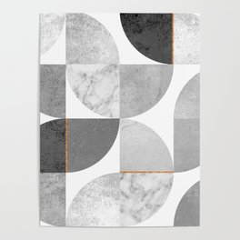 Marble Gray Copper Black and white circles Poster