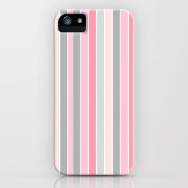 Classic Pink and Gray Stripes iPhone Case