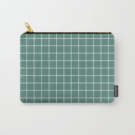Wintergreen Dream - green color -  White Lines Grid Pattern Carry-All Pouch