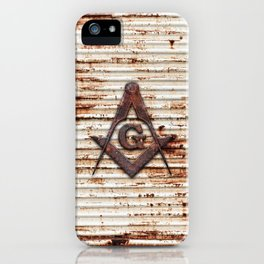 Rusty Red Square Compass iPhone Case