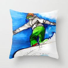 Snowboarder girl Throw Pillow