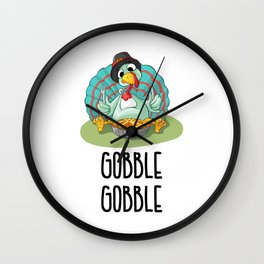 Thanksgiving Turkey Gobble Gobble Wall Clock