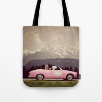 never stop exploring Tote Bags featuring NEVER STOP EXPLORING VII by Monika Strigel