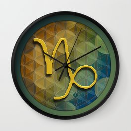 Flower of Life CAPRICORN Astrology Design Wall Clock