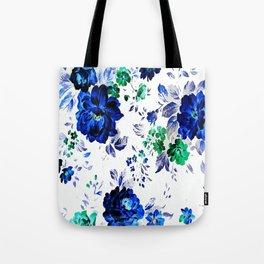 ROSES BLUE VINTAGE PATTERN Tote Bag