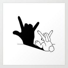 Rabbit Love Hand Shadow Art Print