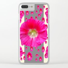 PINK-CERISE HOLLYHOCK FLOWERS  CREAM & GREY GARDEN Clear iPhone Case