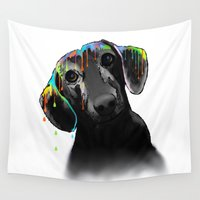 dachshund Wall Tapestries featuring Dachshund Dog by Marlene Watson