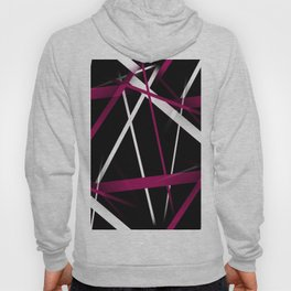 Seamless Rose Pink and White Stripes on A Black Background Hoody