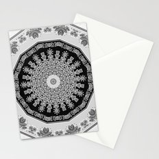 Shades of Grey - Geometric Floral Pattern Stationery Cards