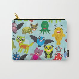 Cute cartoon Monsters seamless pattern on blue background Carry-All Pouch