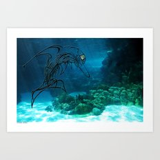 Tribal robot Dolphin :) Art Print
