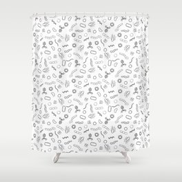 Microbiology - Black on White Shower Curtain