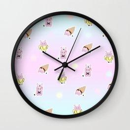 Random Rice ball bunny Wall Clock