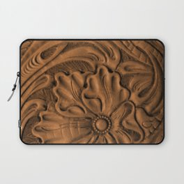 Golden Tanned Tooled Leather Laptop Sleeve