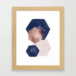 Blush Pink and Indigo Hex III Framed Art Print