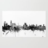 liverpool Area & Throw Rugs featuring Liverpool England Skyline by artPause