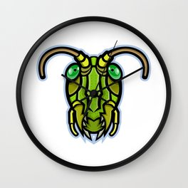Grasshopper Head Mascot Wall Clock