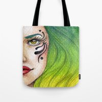 fierce Tote Bags featuring Fierce  by StaceyPatinoArt