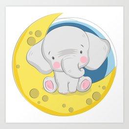 Baby Elephant On The Moon, Cute Little Elephant Art Print