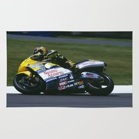 honda Area & Throw Rugs featuring VALENTINO ROSSI RIDING A HONDA by Don Hooper