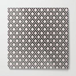 Modern black blush pink wild ethno pattern Metal Print