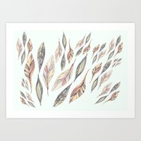 feathers Art Prints featuring Feathers by Vasare Nar