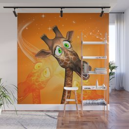 Funny cartoon giraffe Wall Mural