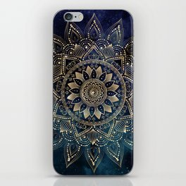 Elegant Gold Mandala Blue Galaxy Design iPhone Skin