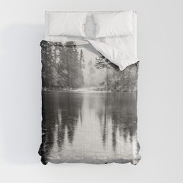 Forest Reflection Lake - Black and White  - Nature Photography Comforters