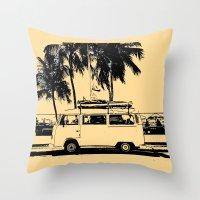 volkswagon Throw Pillows featuring Vintage Beach Van  by kishbish