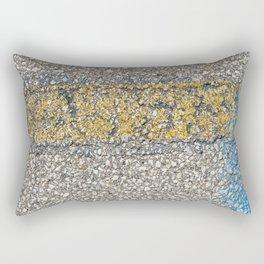 Urban Texture Photography - Yellow and Blue Painted Asphalt Rectangular Pillow