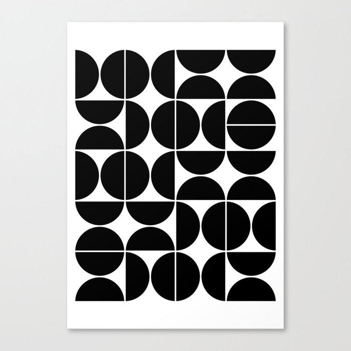 Mid Century Modern Geometric 04 Black Leinwanddruck