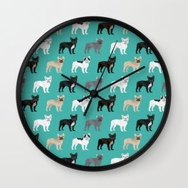 French Bulldog pattern dog breed must have gifts for frenchie owner pillows decor Wall Clock