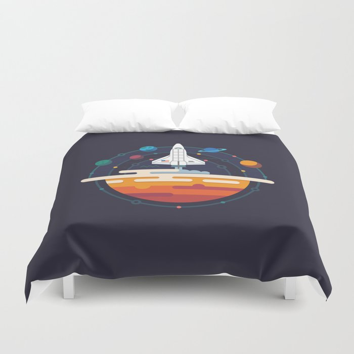Space Shuttle & Solar System Duvet Cover