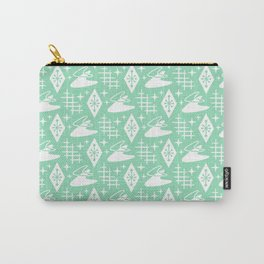 Mid Century Modern Boomerang Abstract Pattern Mint Green Carry-All Pouch