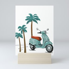 Vespa & Palm Trees - Sage by Linda Sholberg Mini Art Print