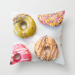Colorful Donuts on Marble Throw Pillow