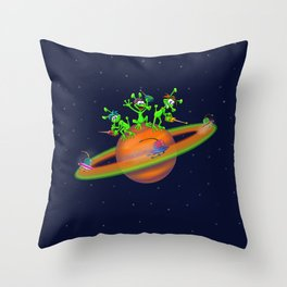 Three cute Martians playing a race in Saturn Throw Pillow
